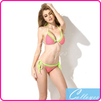 Colloyes 2014 New Sexy Polka Dot + Green Lace Triangle Top with Classic Cut Bottom Bikini Set Swimwear Swimsuit