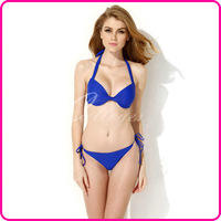 Colloyes 2014 New Sexy Royal Blue Add-2-Cups Halter Top Bikini Swimsuit Swimwear Set with Push-up Molded Cups