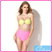 Colloyes 2014 New Sexy Greenish Yellow+ Pink Bikini Set Swimsuit Swimwear with Bandeau Top and High-waist Bottom