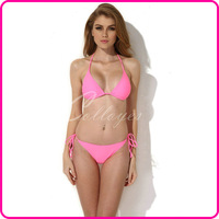 Colloyes 2014 New Sexy Bikini Swimwear Swimsuit Pink Triangle Top with Classic Cut Bottom