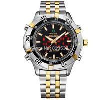 Japan movt Weide  luxury Business army men F1 racing  full steel  Watch Quartz+LED watch sport LIFE waterproof wristwatch