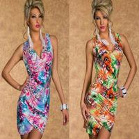 Free shipping 20pcs/lot 2014 New Hot Women's Sexy  dress party ,women print strapless 2colors, size M, mini sexy club dress SE39