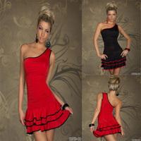 Free shipping 20pcs/lot 2014 New Hot Women's Sexy  dress party ,women ruffles dress  2colors, M,XXL  mini sexy club dress  SE37