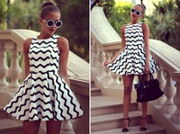 Milan Style Women Dress Black And White Wave Stripe Printed Ball Gown 2014 Spring Summer Brand New Fashion Casual Dresses %