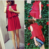 2014 New Women Summer Chiffon Dress Two Kinds To Wear Fashion Double Ruffles Cute Wine Red Short Dress Tank Top Dress Plus Size