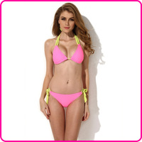 Colloyes 2014 New Sexy Pink Triangle Top with Classic Cut Bottom Bikini Set Swimwear Swimsuit