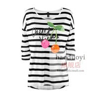 Womens loose three quarter sleeve t-shirt with cherry and strip print for wholesale and freeshipping