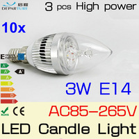 10PCS E14 4W AC85-265V,4*1W Epistar High Power LED Candle bulb Non-Diemmabl led light lamp bulb