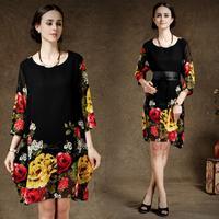 New Arrival Women's Elegant Plus Size Flower Print chiffon Loose Plus Size Floral Short Summer Mini dress for Party 2014Autumn