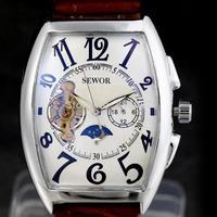 2014 new fashion men leather retro strap calendar date male gife classic self-wind mechanical wrist watch