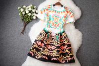 2014 New Slim Women Casual Dress Blending Vintage Locate Print Flower Fashion Vestidos Elegant Celebrity Catwalk Dresses T1994