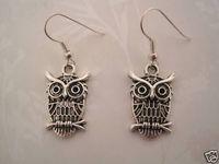 24pair *CUTE WIZE OWL* Tibetan Silver Earrings SP GIFT POUCH 37MM KL1123
