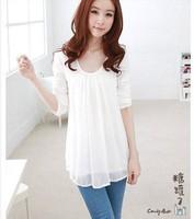 New 2014 Summer Hot Sales Cotton Chiffon Long Sleeve O-Neck Chiffon Blouse Slim tee Tops girl t shirt women Free Shipping