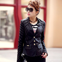 Free Shipping New Arrival 2014 Short Slim Motorcycle Small Leather Jacket PU Plus Size Autumn Outerwear,M L XL 2XL 3XL 4XL 5XL