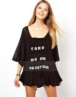 2014 haoduoyi take me on vacation letters printed loose style transparent black t-shirt for wholesale and free shipping