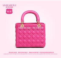 6 Plaid Golden Hardware NO DI*R LOGO Diana princess genuine leather handbags, Fine Hardware cross-body ladies handbag SS256