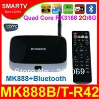 MK888B / T-R42 Bluetooth Quad Core RK3188 Android 4.2 TV Box  Mini PC XBMC Smart TV Media Player Remote Controller Updated MK888