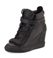 Free shipping 2014 New black genuine leather with black strap  high top  lace up GZ women wedge sneakers good quality