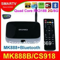 MK888B / T-R42 / CS918B Bluetooth Quad Core RK3188 Android 4.2 TV Box  Mini PCs Smart TV Media Player Updated MK888 K-R42 CS918