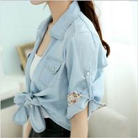 2014 summer thin denim long-sleeve shirt tieclasps kaross design short outerwear small cape cardigan