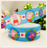 MD7208,22mm Peppa Pig Series Printed grosgrain ribbon,DIY handmade materials,headwear accessories,wedding gift wrap