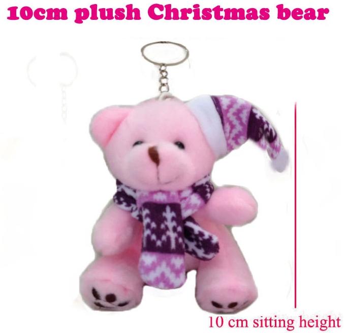 Free Shipping 50 Pieces 10cm Pink Plush Bear Christmas ornaments, key chains, car ornaments Christmas gift(China (Mainland))