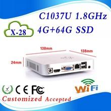core i3 mini pc amd mini car pc Xcy X28 C1037U 1.8GHZ 4G RAM 64G SSD 4*USB2.0 13.8*13.8*2.4 cm Video Resolution:1920*1080(China (Mainland))