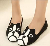 WOMEN Free shipping 2014 MJ dog cat flats, sapatilhas women's flat shoes alpargatas loafers casual cartoon suede flats shoes