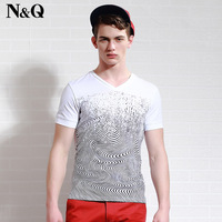 brand men's clothing 2014 male short-sleeve slim T-shirt 100% male thread cotton fashion novelty style plus size high quality