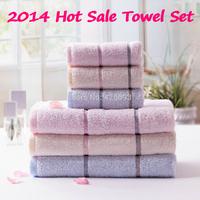 Free Shipping 100% Cotton 3pcs Set Bath Towel + Face Towel Satin Solid Color Super Soft Towel Home Textile