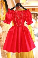 Fashion women's 2014 slit neckline strapless princess puff sleeve dress slim waist one-piece dress vintage
