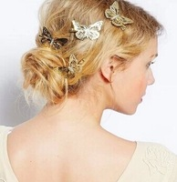 New fashion hairwear  alloy with gold plated butterfly hairpins  nice Gift for women girl H291