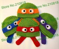 5pcs/lot Crochet Baby Ninja Turtle Hat Newborn Photo prop Free shipping