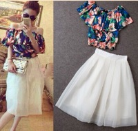 2014 summer small print strapless chiffon top half-length full dress set