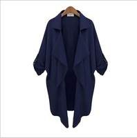 2014 New Fashion Autumn Plus Size Trench Coat for Women Ladies Big Yards Simple Windbreaker 2 colors size S-XL(WT03)