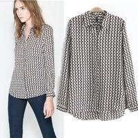 Women Tops And Blouses 2014 New Fashion Geometric Print Long Sleeve Shirts Sheer Chiffon Blouses Blusas Femininas