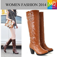 Free shipping knee boots high heel shoes fashion sexy long women boots shoes motorcycle women boots shoes size 34-43WS3052