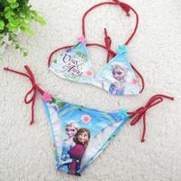 Wholesale Girls Bikini Children Girl's Frozen Bikini Elsa & Anna Swimsuit Kids Bathing Suit 2014 Fashion Girl Swimwear