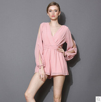 New Arrival Sexy Deep V Long Sleeve Playsuit Loose Chiffon Jumpsuits