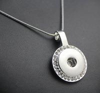 12pcs/lot New DIY white rhinestone round snap button pendant snake chain necklace pendant free shipping
