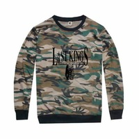 Hot sale Men's lastking Hip Hop T-Shirt boy Cotton Leisure Streetwear clothing Man's last king camo full long sleeve tshirt