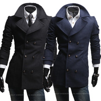 2013 xiecha pocket large lapel double breasted wool coat male wool 5629p110