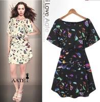 Hot Sales New 2014 Desigual Women Summer Dress Europe Birds Wth Short Sleeves Printing Loose Dress With Belt Women Clothing