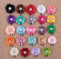 30X Satin Ribbon Flower Leaf Rhinestone Appliques 3.5CM DIY Sewing Wedding Decor Craft Accessories