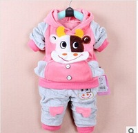 NEW 2014 RETAIL Baby girls sets suits cow clothing hoody+pants child kids baby wear cartoon clothes 2pcs set cotton free ship