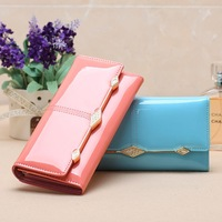Wholesale! Free Shipping 2014 new Korean fashion ladies patent leather wallets, female  long tdesigner purses and handbags 2014