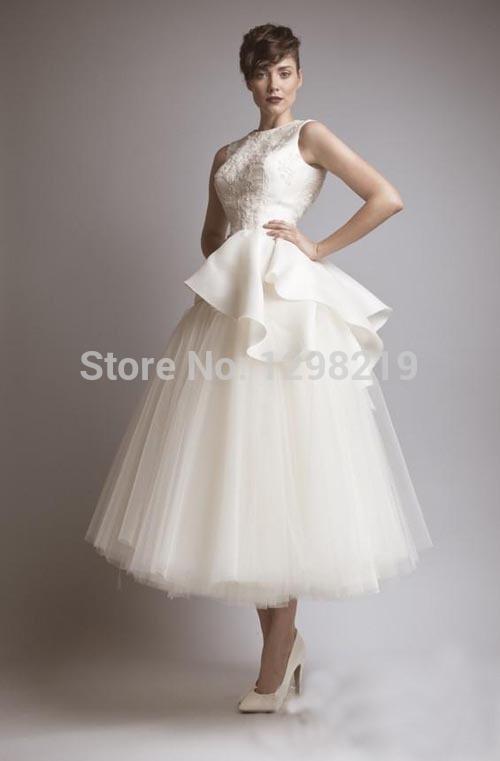 Vintage short wedding dresses bridal gowns with sccop for Www dhgate com wedding dresses