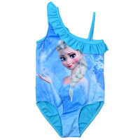 2014 New Frozen Kid Girls Swimwear Childrens 1 pieces Bikini Swimsuit Hot sale Beach wear for kids cartoon swimsuit