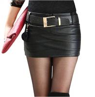 2014 New In Fashion Women PU Short Skirts Korean Style All Match Tight Hip  Slim Low Waist Female Mini Skirts Black With Belt