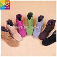 Fashion Women Boots Hidden Increasing Height Women Ankle Boot Flat Tassels Slip-on Hot Selling WS3057